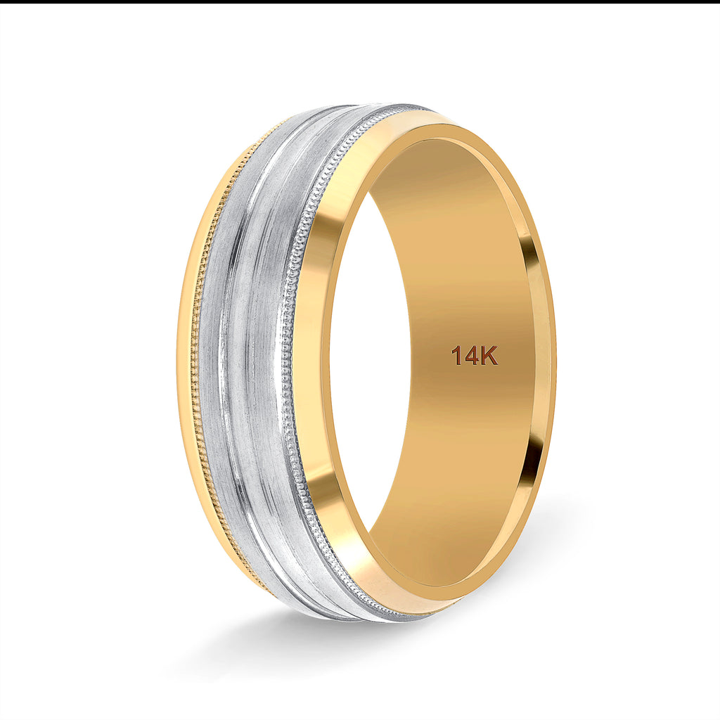 Two Tone Wedding Band for Her and Him