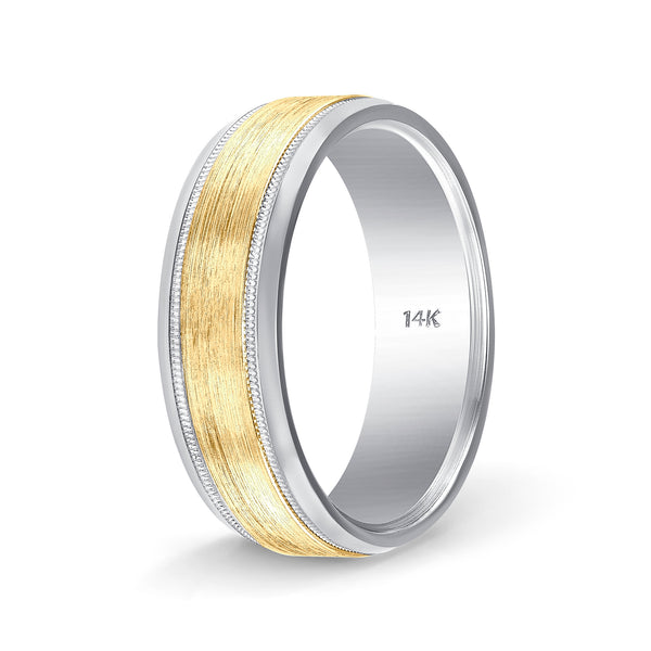 Weddings Bands for Him and Her Milgrain Two Tone