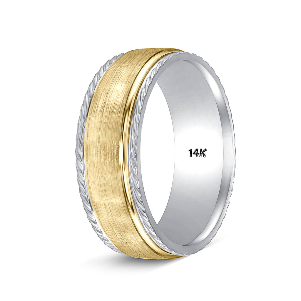 Wedding Band Handmade Two Tone Gold