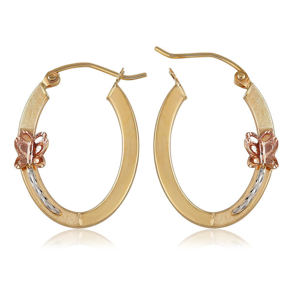 TousiAttar Tri Color Butterfly Hoop Earrings