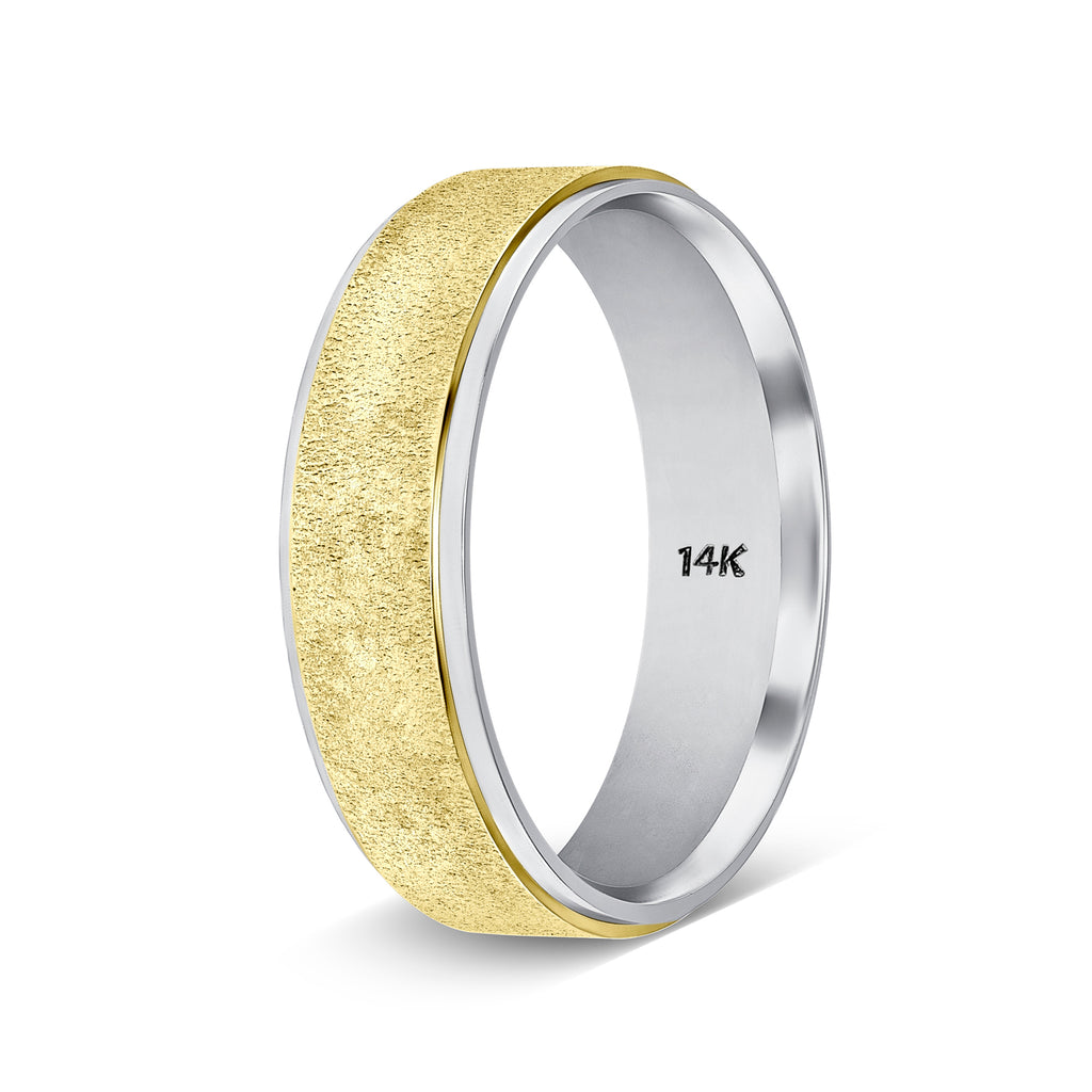 Two Tone Gold Handmade Mens Wedding Bands
