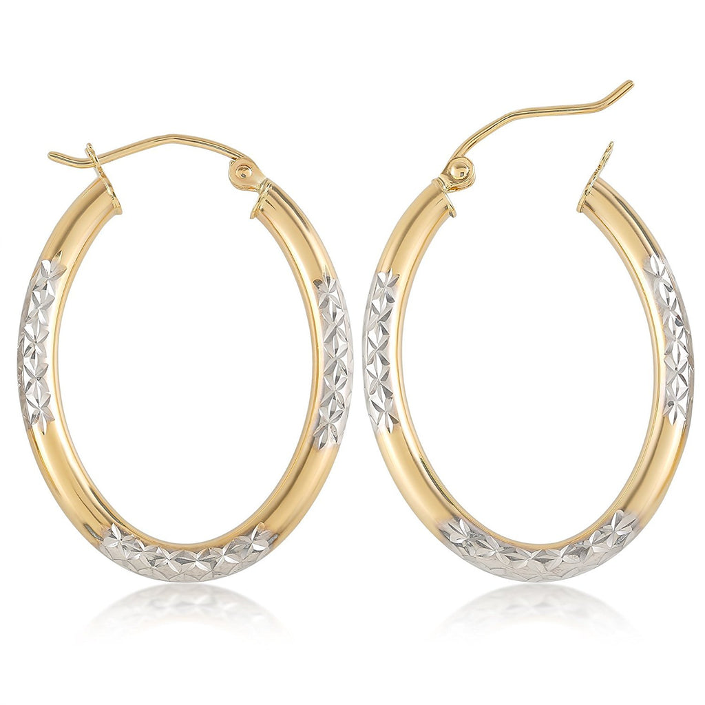 Two Tone Oval Hoop Gold Earrings