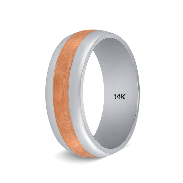 Two Tone Rose Gold Mens Wedding Band