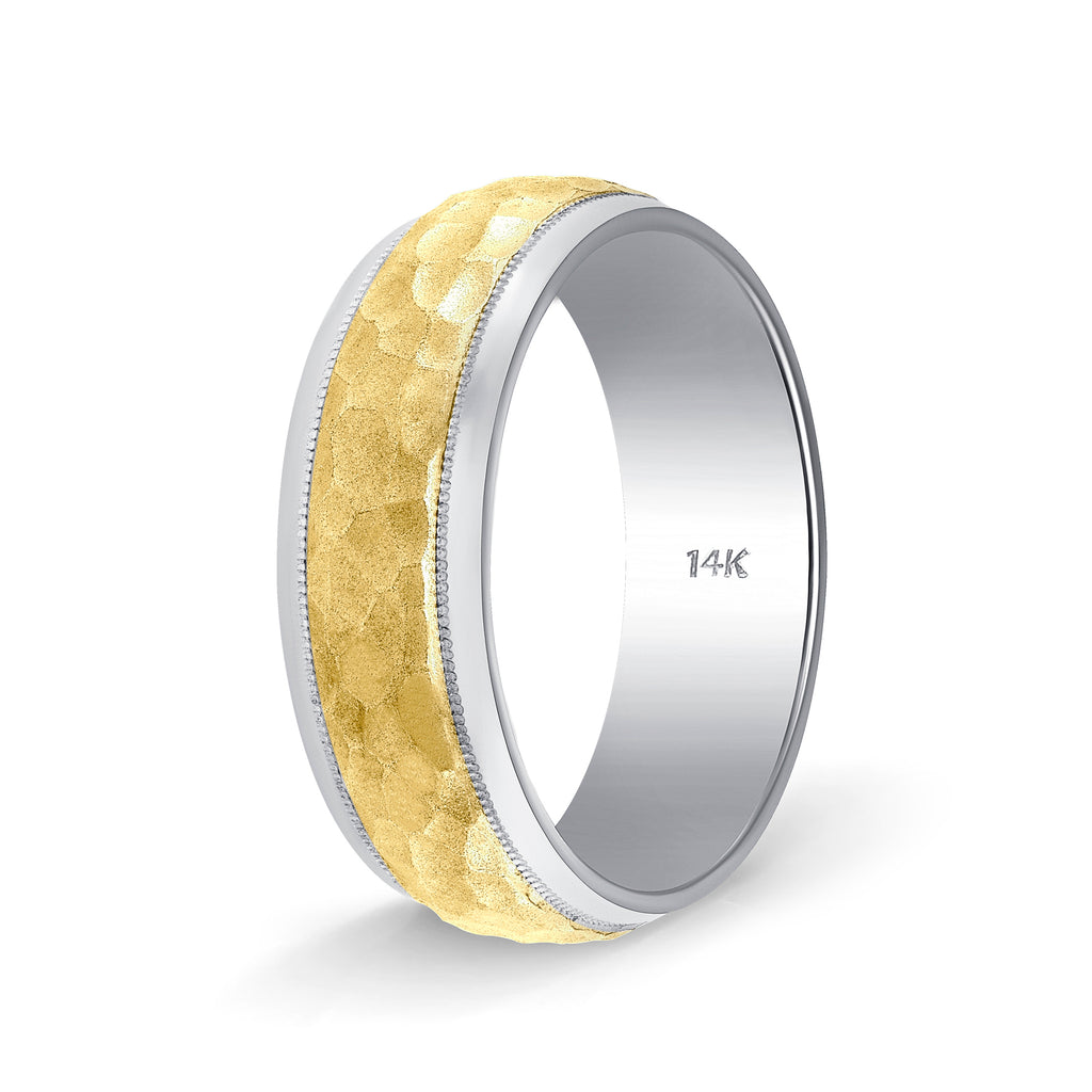 Weddings Bands Hammered Finch Design Comfort Fit Tone Tone