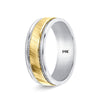Two Tone Gold Wedding Rings Diamond Cut Design