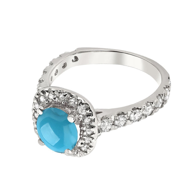 Turquoise and Diamond Gold Ring