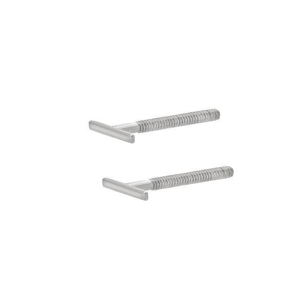 Bar Stud Earrings 14k White Gold