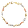 14K Tri Color Gold Chain Link Bracelet