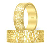 Gold Wedding Ring Band Hammered and Milgrain Design