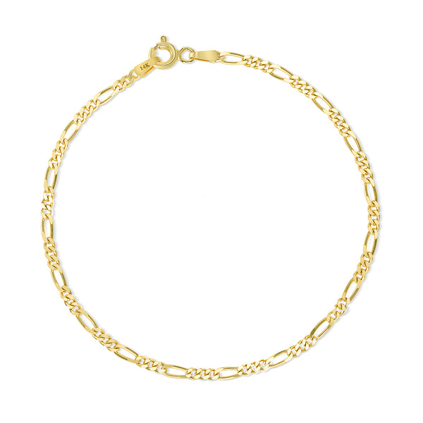 Figaro Concave Bracelet 14K Yellow Gold