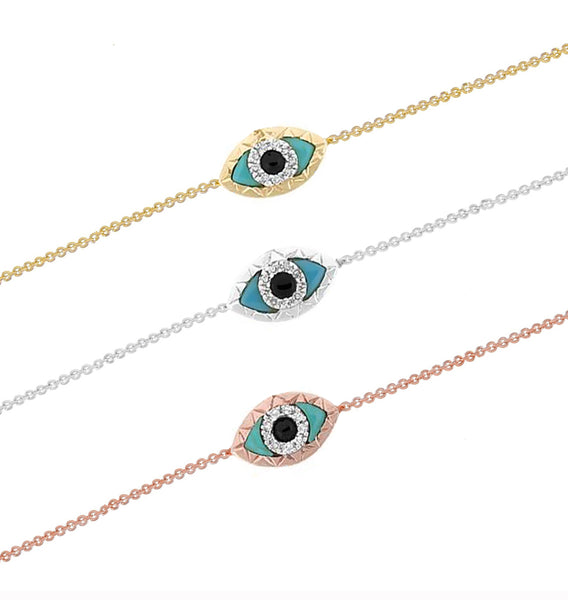 Diamond Evil Eye Turquoise Bracelet Gold