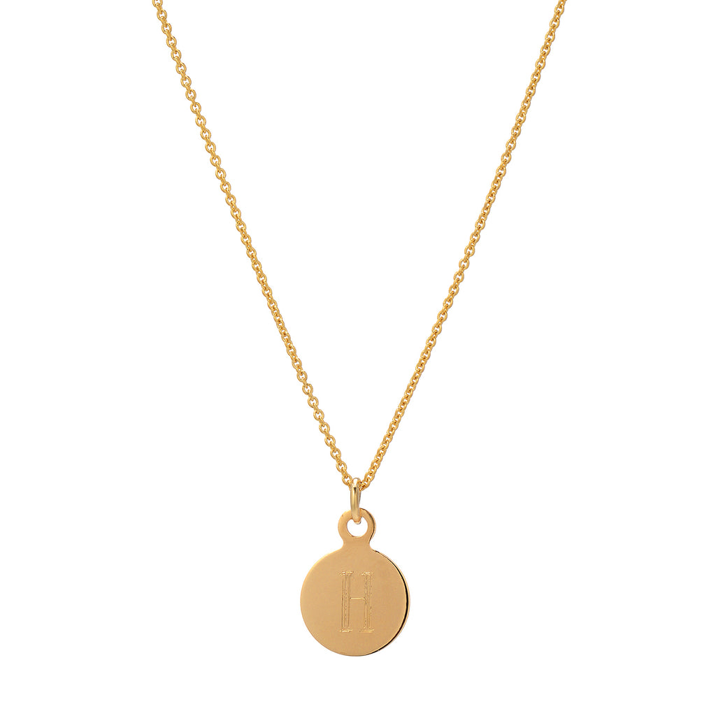 Gold Initial Necklace Pendant Engraving