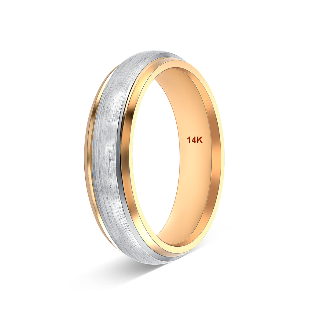 14k Gold Wedding Band Two Tone