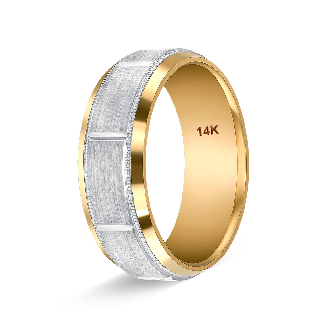 Two Tone Gold Wedding Rings Handmade diamond cut