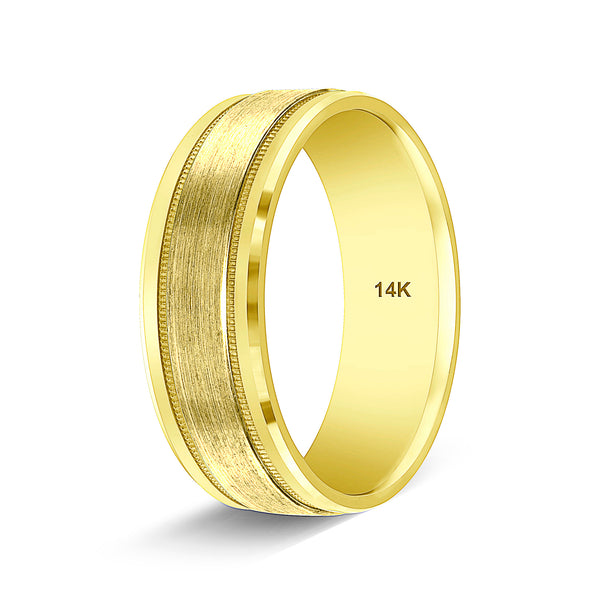 14k Yellow Gold Wedding Band Handmade