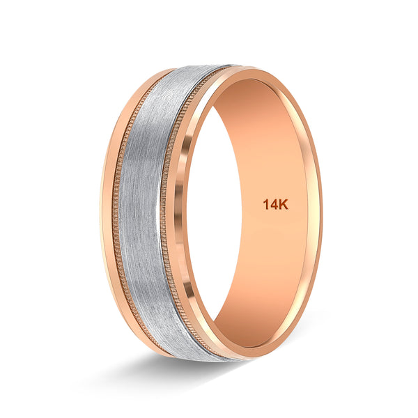 TousiAttar Two Tone Rose Gold Wedding Band