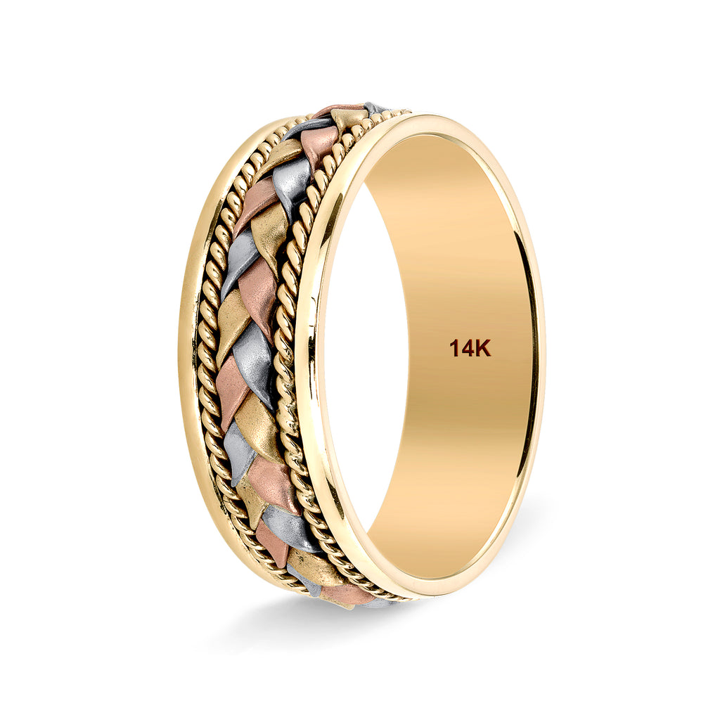 Tri Color Hand Bridal wedding bands