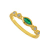 Marquise Emerald & Round Diamond Gold Stacking Band