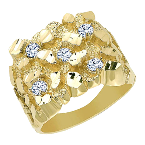 Mens Gold Nugget Diamond Ring