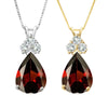 Ruby Pear Shaped & Diamond Pendant Necklace Gold