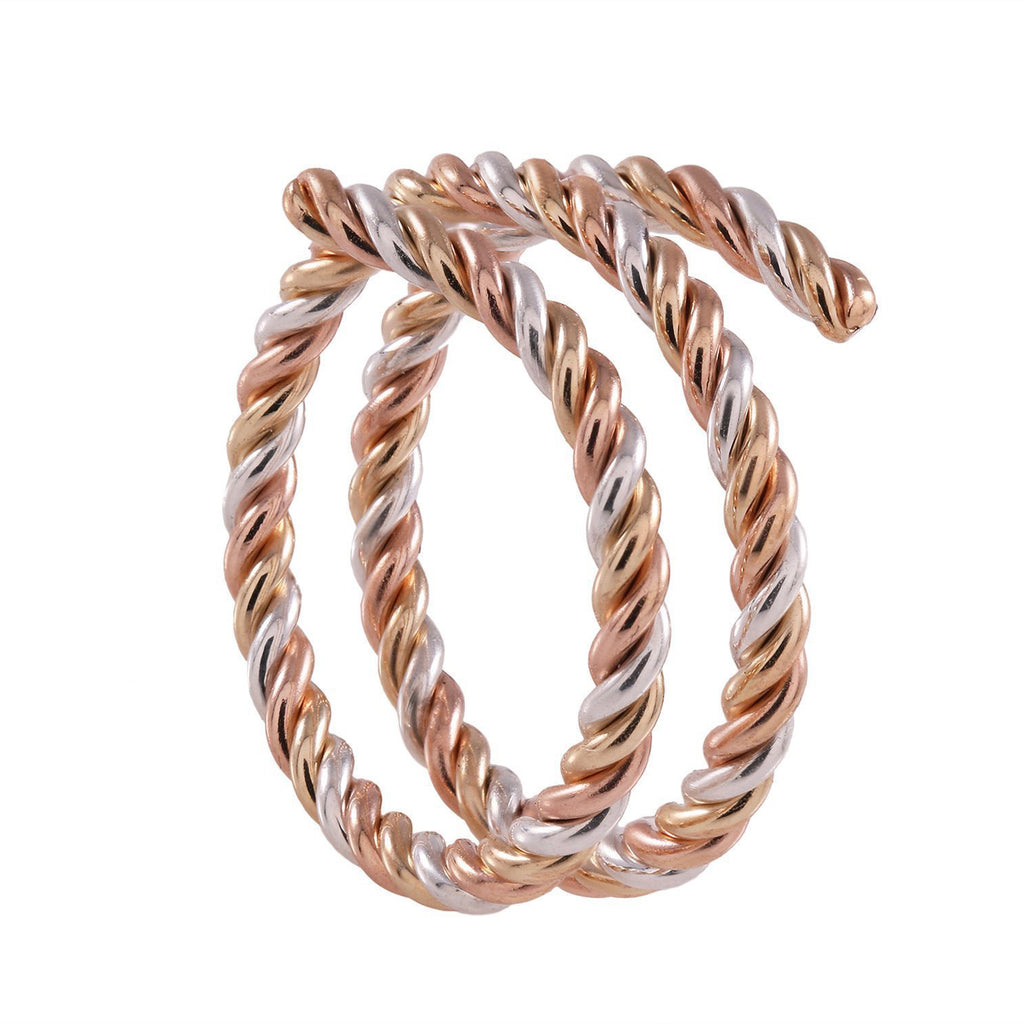 Tri Tone Spiral Braided Gold Rings