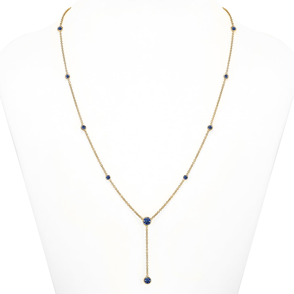 Sapphire Y Necklace Gold
