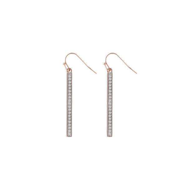 Diamond Bar Earrings Pave set Gold