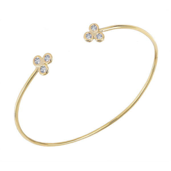Diamond Bangle Gold Bezel Set Skinny Design