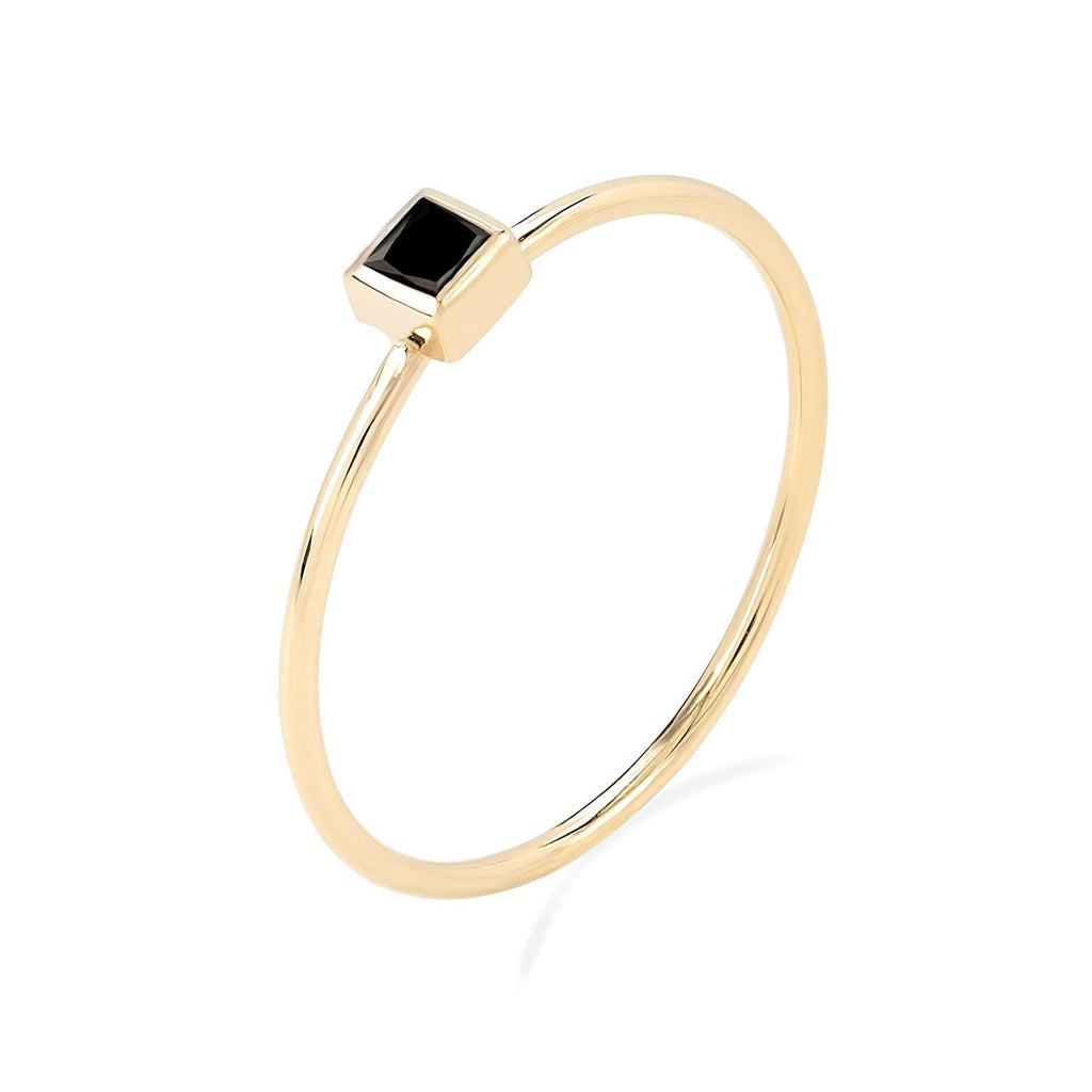 TousiAttar Stacking Rings Black Diamond Princess Cut