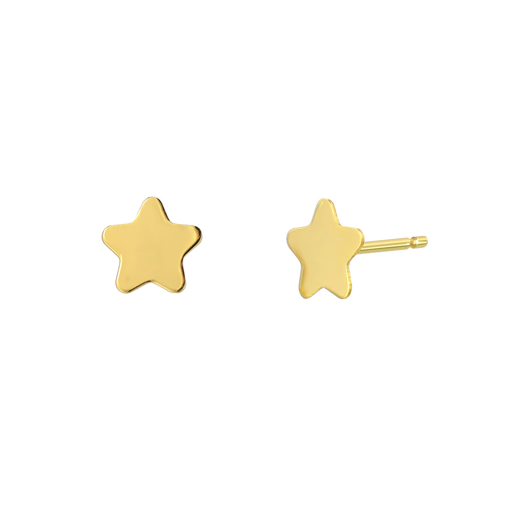 Star Stud Earrings 14k Yellow Gold Girls and Girlfriends Gift