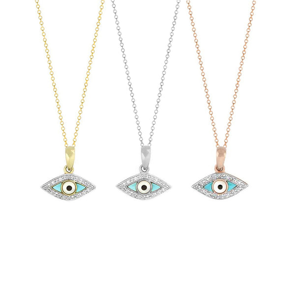 Turquoise Evil Eye Gold Diamond Necklace