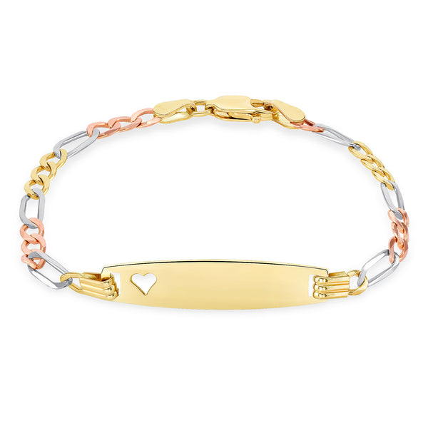 Baby Heart Id Bracelet 14k Gold Tri Color Free Personalized Engraving