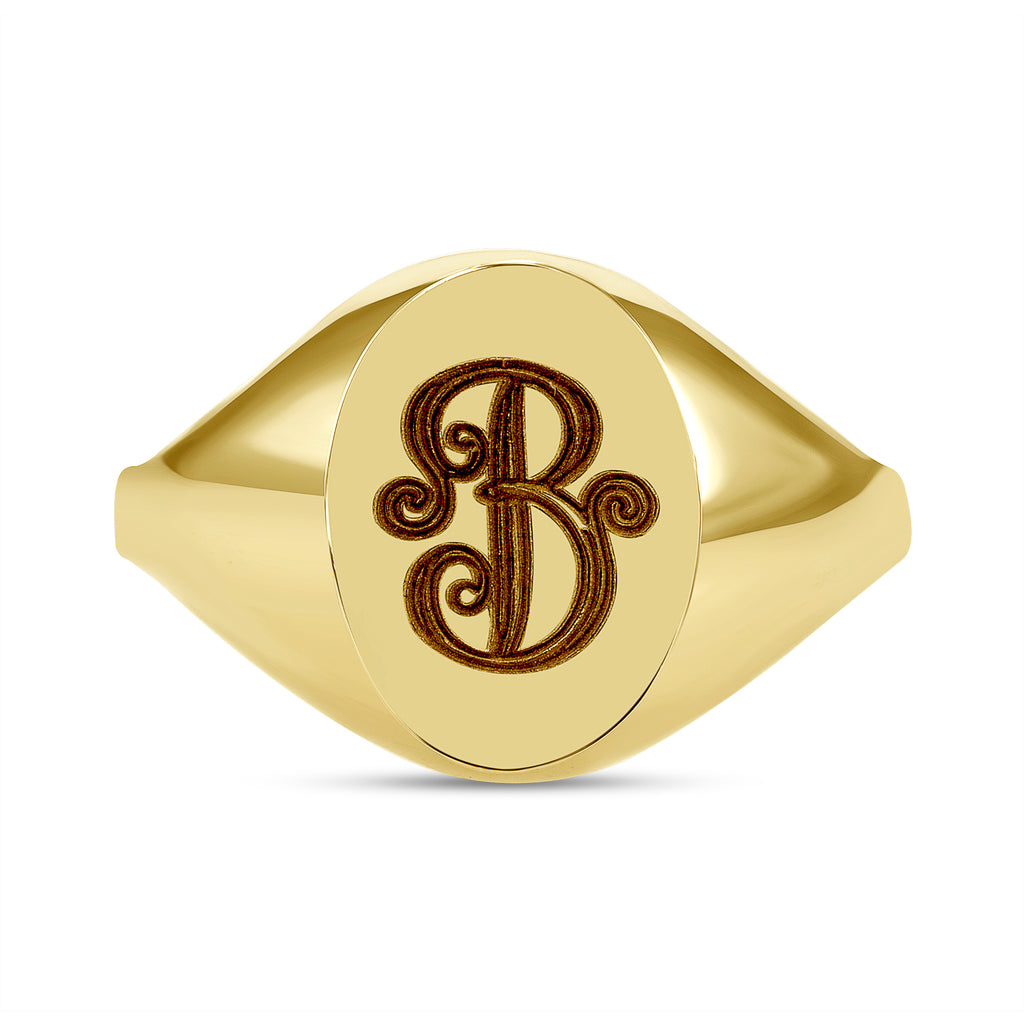 Signet Ring Gold Personalized Engraving