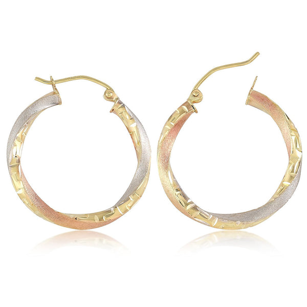 Tri Color Spiral Hoop Earrings Gold