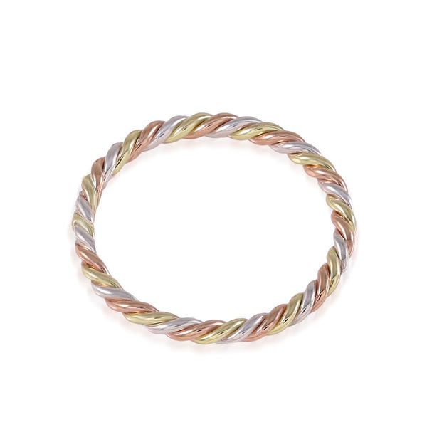 Tri Tone Braided Stacking Ring