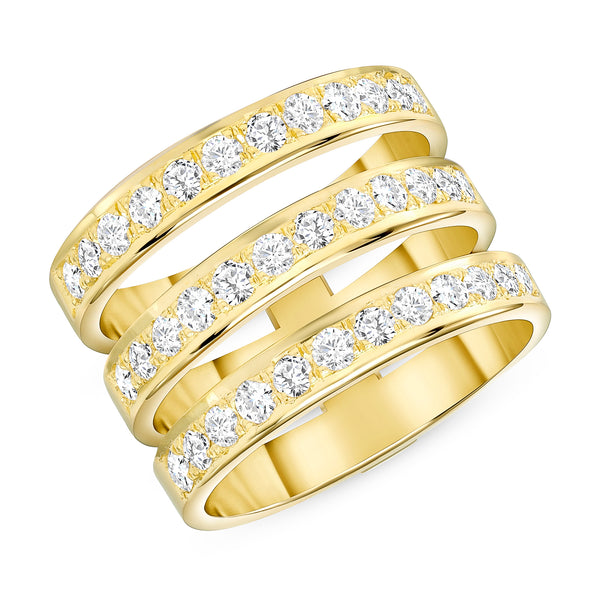 Triple Ring Diamond Gold Band Nice 3 Line Ring