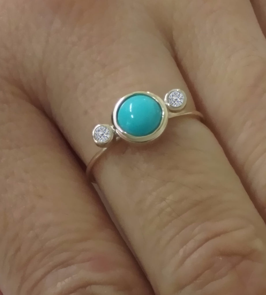Diamond and Turquoise Ring
