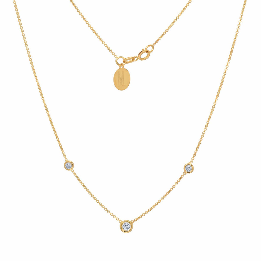Diamond Necklace Solitaire Pendant Yellow Gold