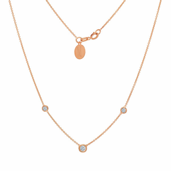 TousiAttar Diamond Necklace Solitaire Pendant Rose Gold