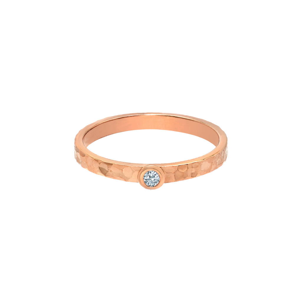 TousiAttar Solitaire Diamond Rose Gold Ring