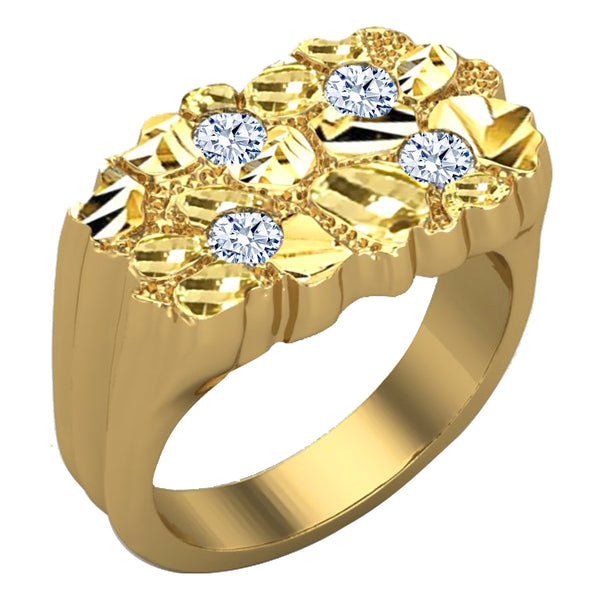 Solid Gold Nugget Ring Diamonds