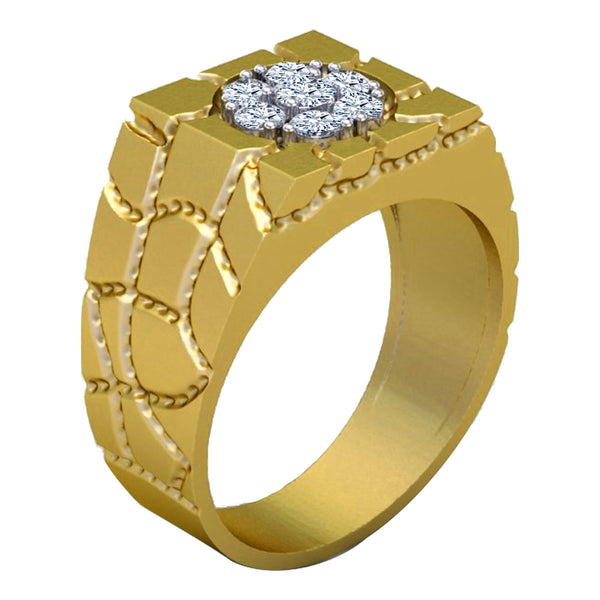 Diamond Band Mens Gold Nugget Ring