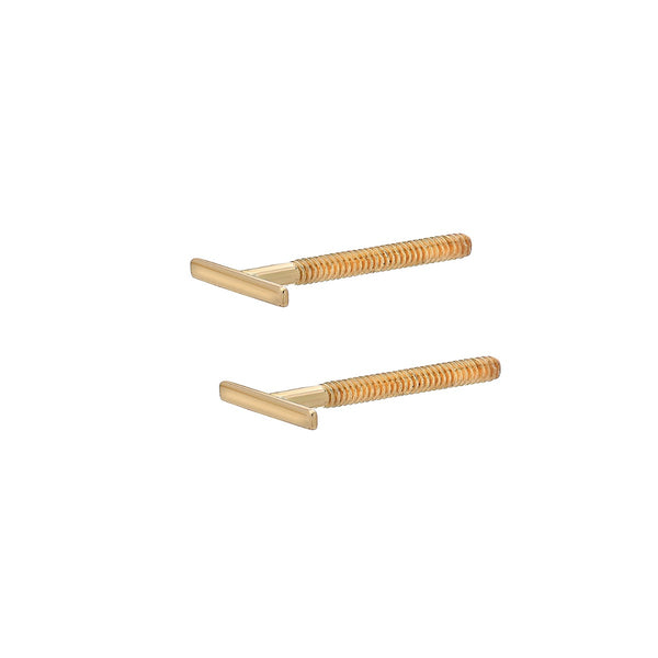 Line Stud Earrings 14k Yellow Gold Bar