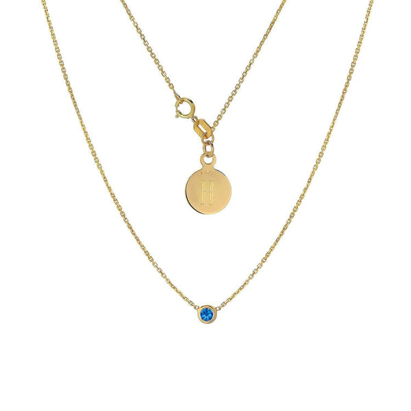 Blue Sapphire Solitaire Gold Necklace