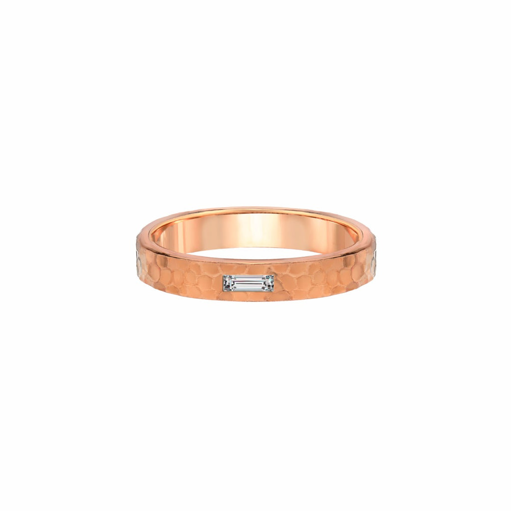 Baguette Cut Diamond Rose Gold Hammered Ring