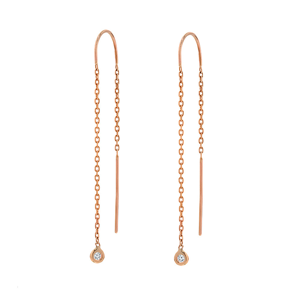 TousiAttar Diamond Dangle Earrings 14 k Rose Gold