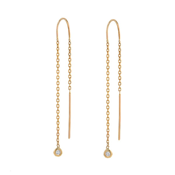 TousiAttar Diamond Bezel Set Earrings 14k Yellow Gold