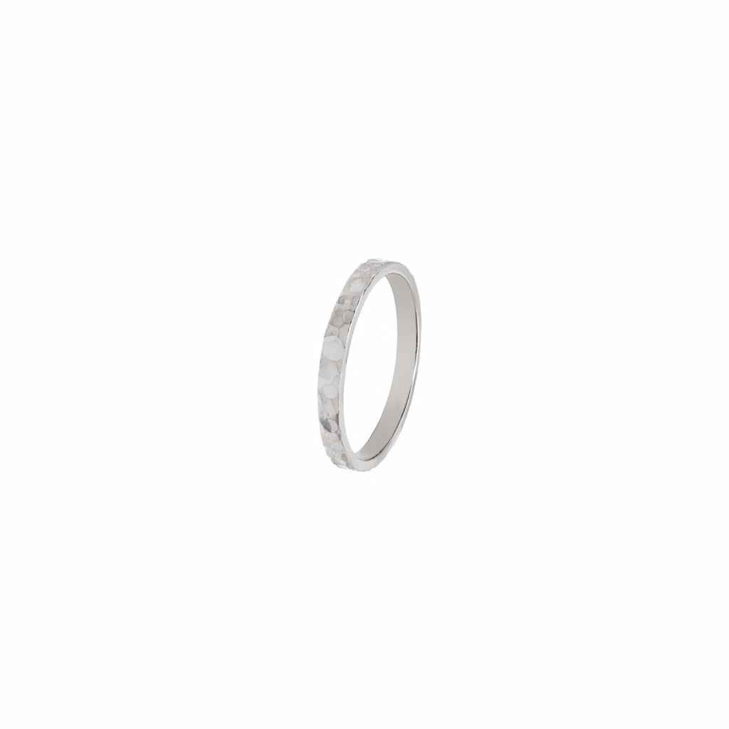 Hammered handmade wedding band 14K White Gold