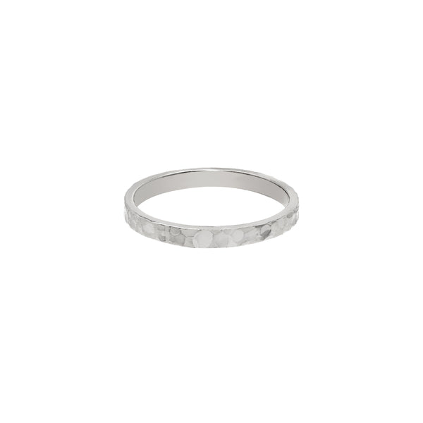 Hammered 14K White gold Band