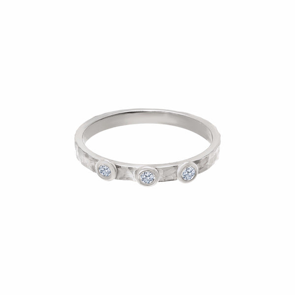 Three Diamond Band Ring White Gold